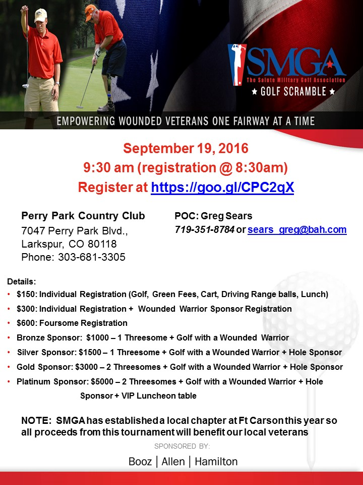 SMGA's 6th Annual Wounded Warrior Golf Tournament - Sponsored by ...
