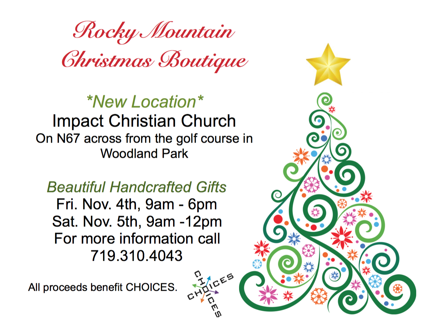 Rocky Mountain Christmas Boutique Choices At Impact Christian Church Woodland Park Co Free Events