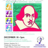 Pikes Peak Philharmonic Concert: 'Shakespeare in the Springs' presented by Pikes Peak Philharmonic at Coronado High School Auditorium, Colorado Springs CO