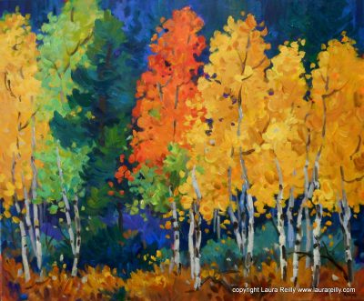 Beginner's Acrylic Painting One-Day Workshop – Autumn Aspens with Laura Reilly presented by Laura Reilly Fine Art Gallery and Studio at Westside Community Center, Colorado Springs CO