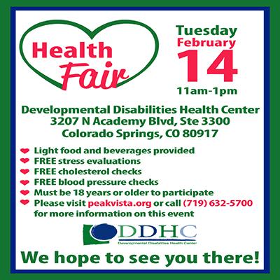 Peak Vista Developmental Disabilities Health Center Health Fair