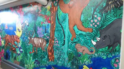 Ivywild School: Downstairs Girls Bathroom Jungle