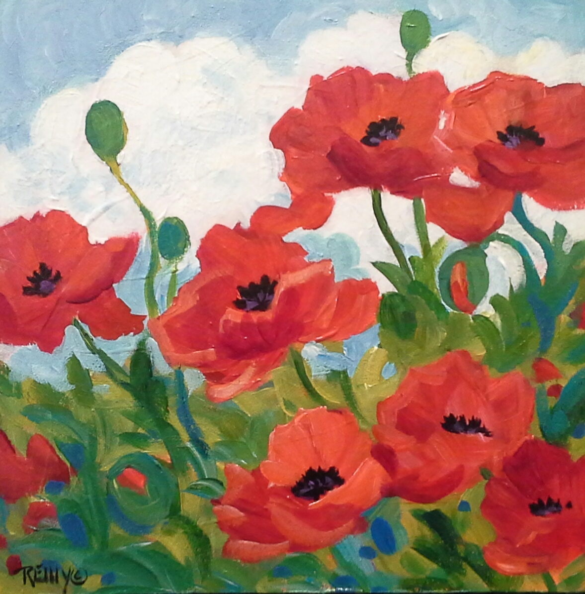 Beginner S Acrylic Painting Colorful Poppy Garden