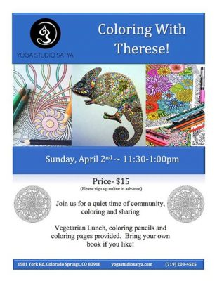 Coloring with Therese presented by Yoga Studio Satya at ,