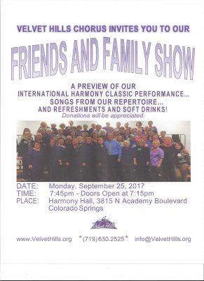 Velvet Hills Chorus Friends & Family Chorus presented by Velvet Hills Chorus at Harmony Hall, Colorado Springs CO