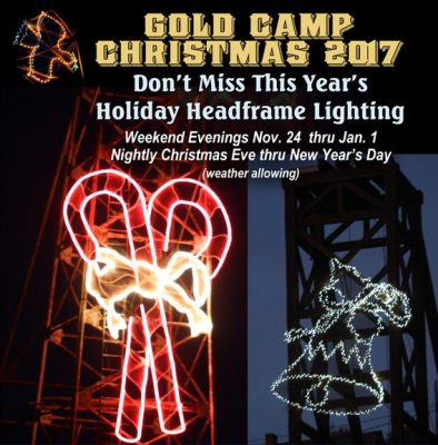 Holiday Headframe Lighting presented by Southern Teller County Focus Group at Victor Lowell Thomas Museum, Victor CO