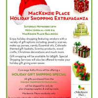 Holiday Shopping Extravaganza presented by MacKenzie Place Senior Living at MacKenzie Place, Colorado Springs CO