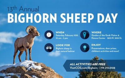 Bighorn Sheep Day Festival presented by Colorado Springs Convention & Visitors Bureau at Garden of the Gods Visitor and Nature Center, Colorado Springs CO