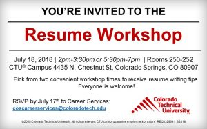 Resume Workshop presented by Colorado Technical University