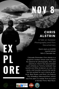 Go Outside Speaker: Chris Alstrin presented by Pikes Peak Library District at Ivywild School, Colorado Springs CO