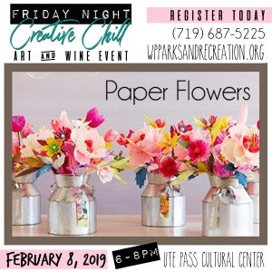 Friday Night Creative Chill: Paper Flowers presented by Peak Radar Live: Fakes and Forgeries Art Show & Sale at Ute Pass Cultural Center, Woodland Park CO