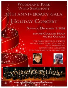 Woodland Park Wind Symphony 25th Anniversary Gala Holiday Concert presented by Woodland Park Wind Symphony at Ute Pass Cultural Center, Woodland Park CO