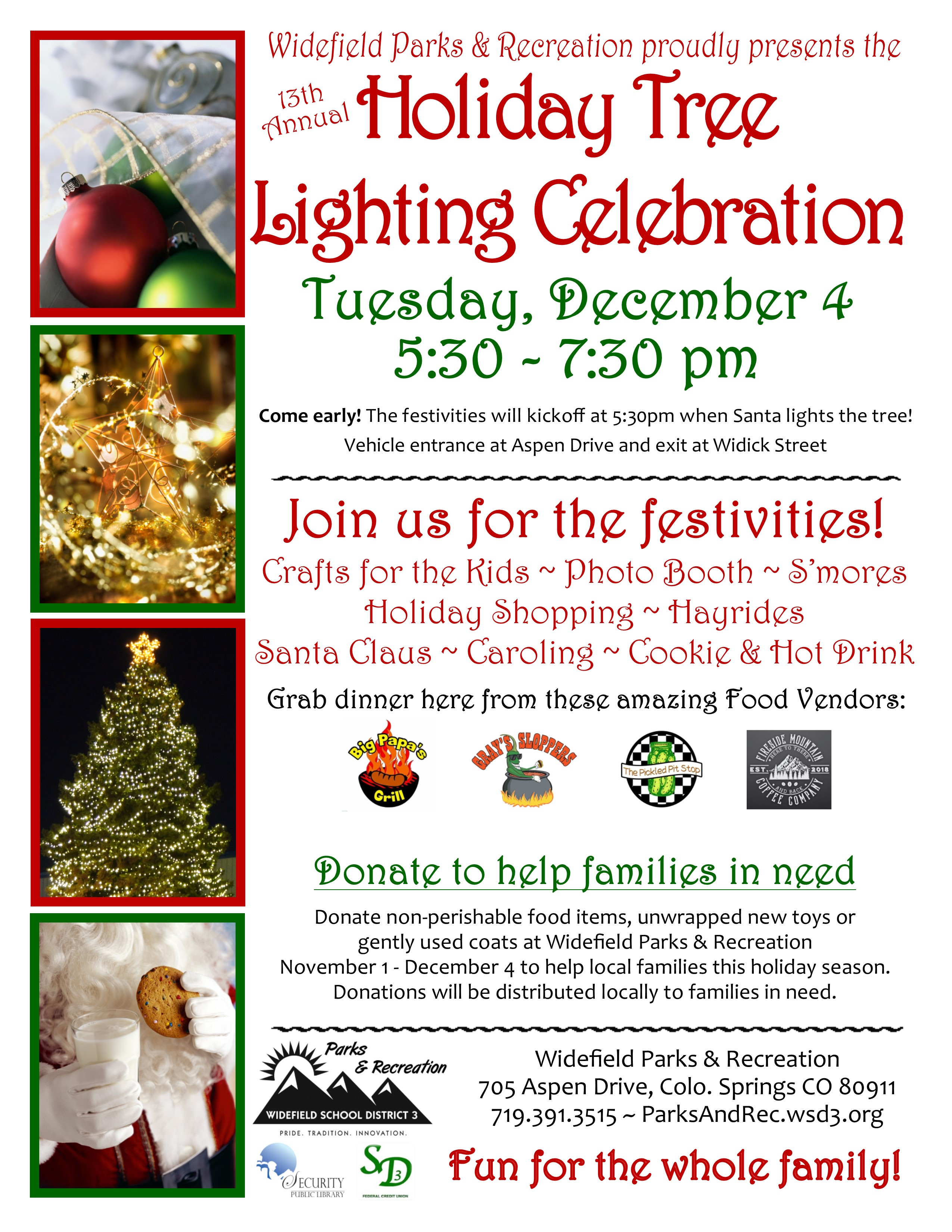 13th Annual Holiday Tree Lighting Celebration presented by Widefield ...