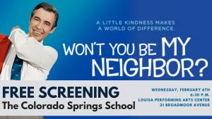 Screening of 'Won't You Be My Neighbor?' presented by Peak Radar Live: Fakes and Forgeries Art Show & Sale at The Colorado Springs School's Historic Trianon, Colorado Springs CO