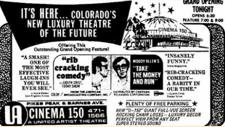 A promotion for the grand opening of Cinema 150, now Stargazers Theatre and Event Center.