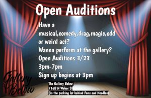 Open Auditions presented by Open Auditions at The Gallery Below, Colorado Springs CO