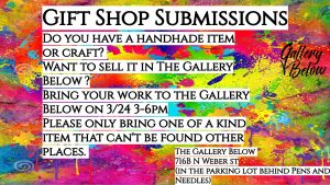 Call for Art at the Gallery Below