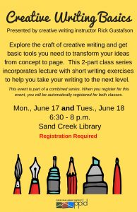 Creative Writing workshop presented by Pikes Peak Library District at PPLD - Sand Creek Library, Colorado Springs CO