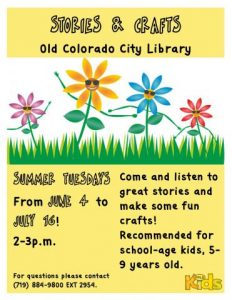 Stories and Crafts presented by Pikes Peak Library District at PPLD - Old Colorado City Library, Colorado Springs CO