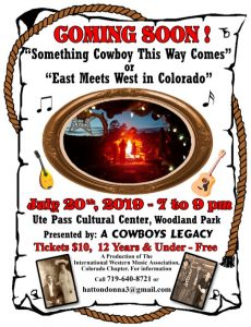 A Cowboy's Legacy presents A Cowboy Variety Show presented by Ute Pass Cultural Center at Ute Pass Cultural Center, Woodland Park CO
