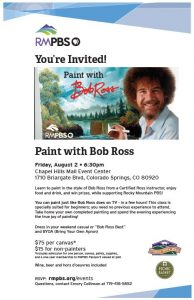 Paint with Bob Ross presented by Rocky Mountain PBS-KTSC at Chapel Hills Mall, Colorado Springs CO