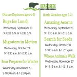 "Children's ""Nature Explorers"" Series presented by Bear Creek Nature Center at Bear Creek Nature Center, Colorado Springs CO"