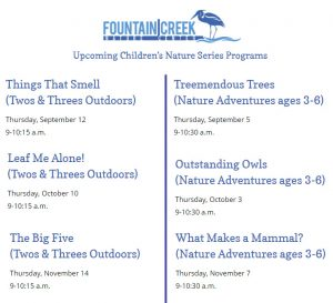 """Children's """"Two's & Threes Outdoors"""" Series at Fountain Creek presented by Fountain Creek Nature Center at Fountain Creek Nature Center, Fountain CO"""