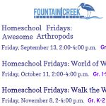 Homeschool Fridays presented by Fountain Creek Nature Center at Fountain Creek Nature Center, Fountain CO