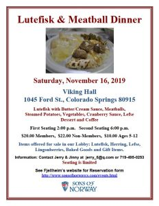 SOLD OUT: Lutefisk & Meatball Dinner presented by Fjellheim Lodge, Sons of Norway, Colorado Springs at Viking Hall, Colorado Springs, Colorado Springs CO