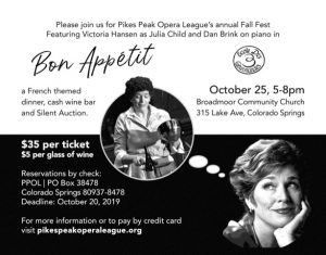 Pikes Peak Opera League's Fall Fest: Bon Appétit presented by Pikes Peak Opera League at Broadmoor Community Church, Colorado Springs CO