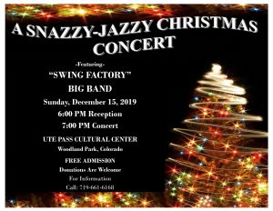 Snazzy Jazzy Christmas presented by Woodland Park Wind Symphony at Ute Pass Cultural Center, Woodland Park CO