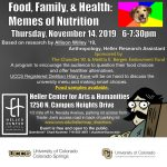 Memes of Nutrition presented by Heller Center for Arts and Humanities at UCCS at UCCS - The Heller Center, Colorado Springs CO