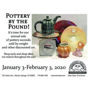 Pottery by the Pound presented by Commonwheel Artists Co-op at Commonwheel Artists Co-op, Manitou Springs CO