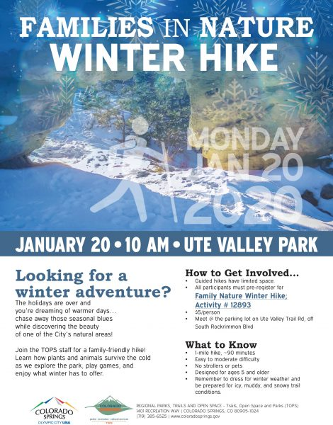 Families in Nature Winter Hike presented by City of Colorado Springs Parks, Recreation & Cultural Services at Ute Valley Park, Colorado Springs CO