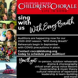 CALL FOR AUDITIONS: Colorado Springs Children's Chorale presented by Colorado Springs Children's Chorale at ,