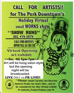 CALL FOR ARTISTS: The Perk Downtown's Virtual Small Works Show presented by Perk Downtown at The Perk- Downtown, Colorado Springs CO