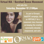 NIA Class With Ormao and Julie Kim presented by Ormao Dance Company at Online/Virtual Space, 0 0