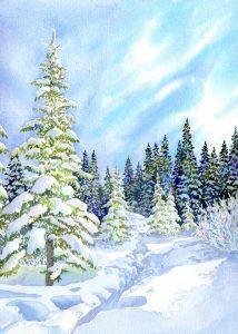 Winter Snow in Watercolor Workshop presented by Winter Snow in Watercolor Workshop at Online/Virtual Space, 0 0
