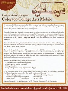 Call for Design Submissions: CC Arts Mobile presented by Colorado College at Online/Virtual Space, 0 0
