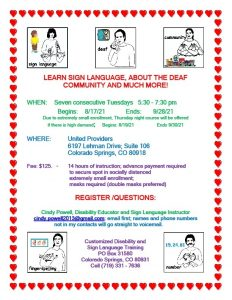 Basic Sign Language Course presented by Customized Disability and Sign Language Training at United Providers, Colorado Springs CO