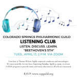 Philharmonic GUILD Listening Club presented by Colorado Springs Philharmonic Guild at Online/Virtual Space, 0 0