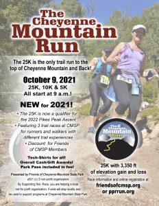 The Cheyenne Mountain Run presented by Friends of Cheyenne Mountain State Park at Cheyenne Mountain State Park, Colorado Springs CO
