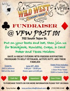 VFW Post 101 2nd Annual Wild West Casino Night presented by Peak Radar Live: Counterweight Theater Lab's 'Dream by Day' at ,