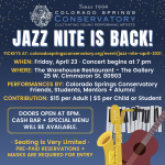 SOLD OUT: Jazz Nite with Colorado Springs Conservatory presented by Colorado Springs Conservatory at Warehouse Restaurant & Gallery, Colorado Springs CO
