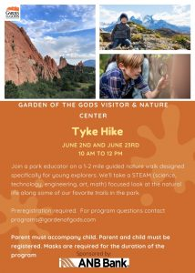 Tyke Hike presented by Garden of the Gods Visitor & Nature Center at Garden of the Gods Visitor and Nature Center, Colorado Springs CO