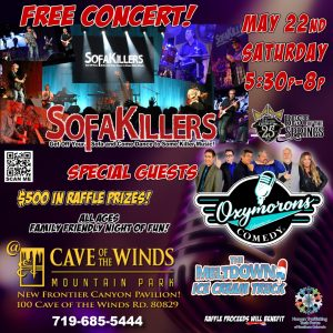 Family Friendly Concert & Comedy with SofaKillers & Oxymorons Comedy presented by Oxymorons Comedy at Cave of the Winds, Manitou Springs CO