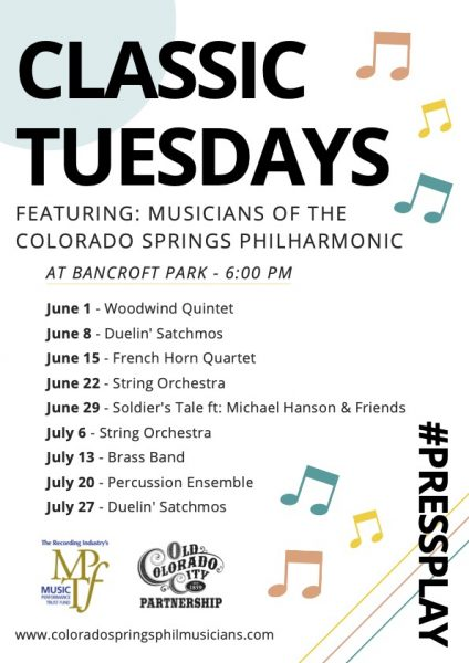Classic Tuesdays presented by Music on the Labyrinth: Academy Jazz Ensemble at Bancroft Park in Old Colorado City, Colorado Springs CO