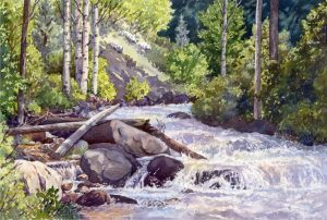 Waterfall and Rocks Watercolor Workshop presented by Peak Radar Live: Green Box Arts Festival at Westside Community Center, Colorado Springs CO