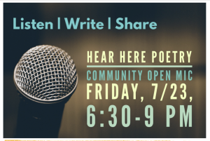 Hear Here Poetry Community Open Mic presented by Hear Here Poetry at Cottonwood Center for the Arts, Colorado Springs CO
