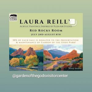 'Morning, Noon and Night in Garden of the Gods' presented by Laura Reilly Fine Art Gallery and Studio at Garden of the Gods Visitor and Nature Center, Colorado Springs CO